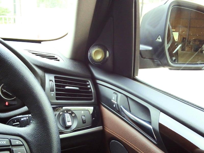 BMW X3 ツィーターマウントワンオフ製作サイドミラー部