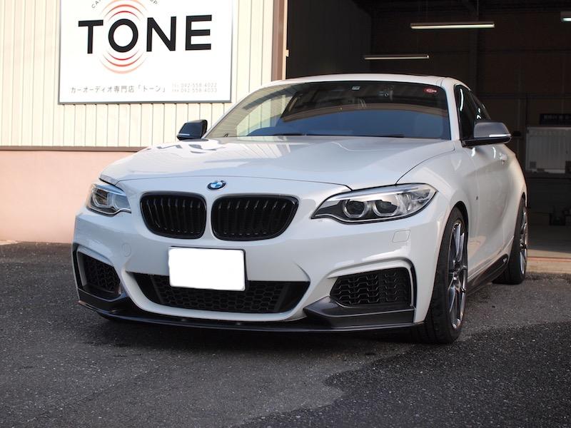 BMW235i アンプ取り付けとスピーカーケーブル引き換え作業