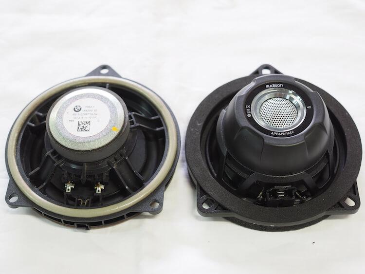BMW 1シリーズ F20の純正ミッドレンジスピーカーとオーディソンのミッドレンジスピーカーを比較