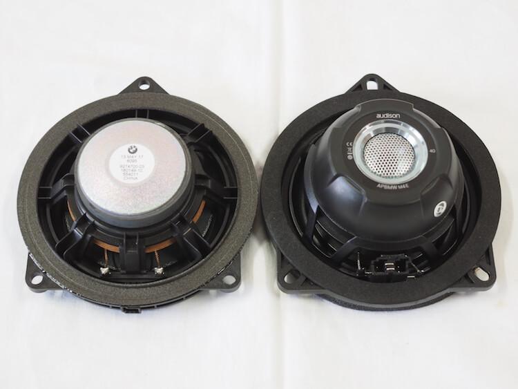 BMWX1純正ミッドレンジスピーカーとオーディソンのスピーカーを比較 裏側