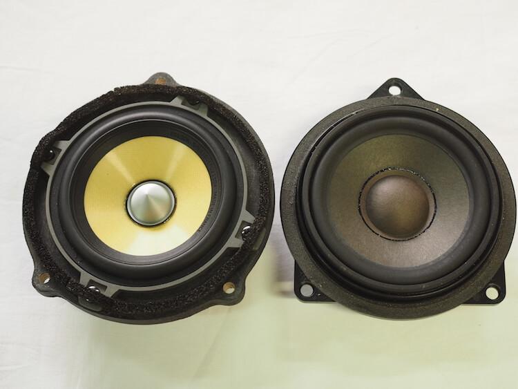 BMW_528iへ取り付けるフォーカルのスピーカーと純正スピーカーを比較