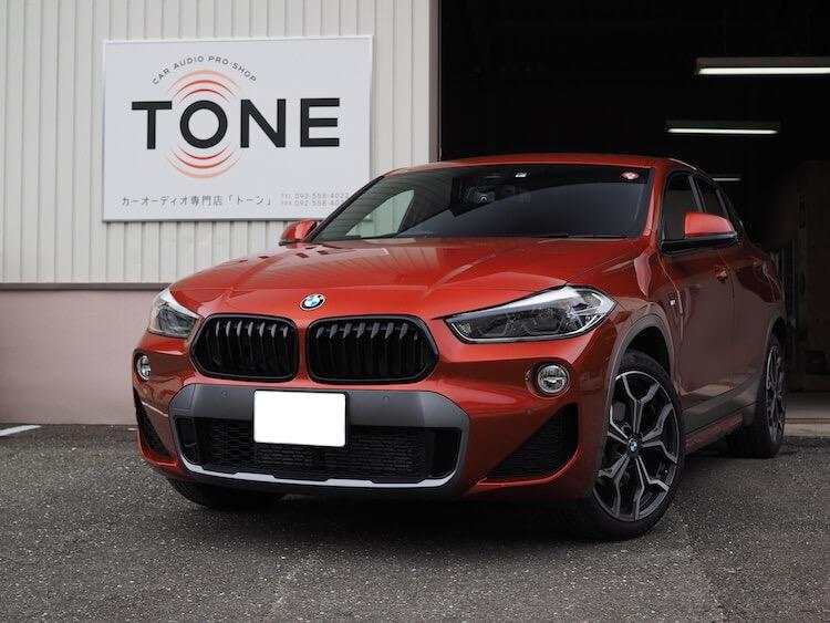 BMW X2 スピーカー交換とアンプ内蔵プロセッサー(DSP)取り付け作業